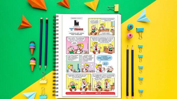 Two Sides e Turma da Mônica em: cadernos são bons para aprender